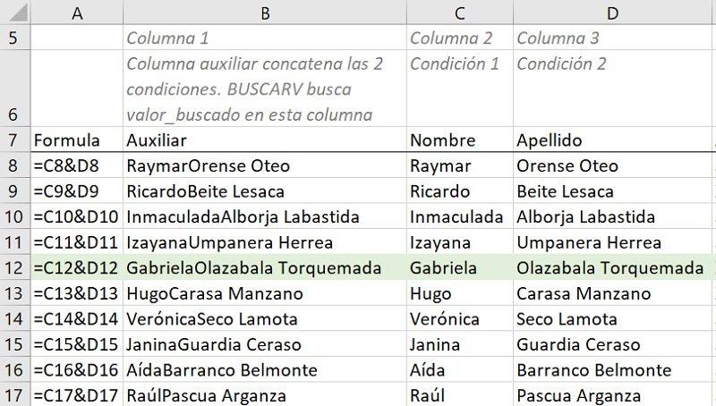 Columna auxiliar para buscar múltiples condiciones con BUSCARV (VLOOKUP)